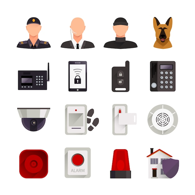 Le icone decorative piane di sicurezza domestica hanno messo con la videocamera del cane da guardia ed i sistemi elettronici digitali per l'illustrazione di vettore isolata protezione domestica Vettore gratuito