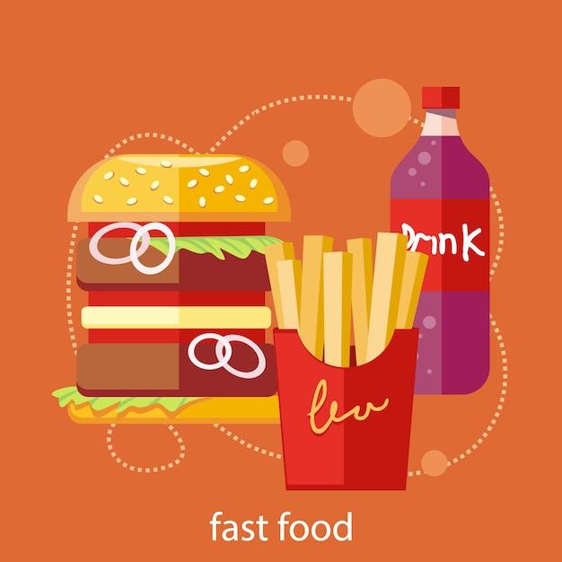 Le icone degli alimenti a rapida preparazione della soda dell'hamburger delle patate fritte bevono nella progettazione piana sul fondo alla moda dell'insegna Vettore Premium