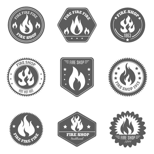 Le icone degli emblemi del negozio di fuoco hanno messo il nero Vettore gratuito