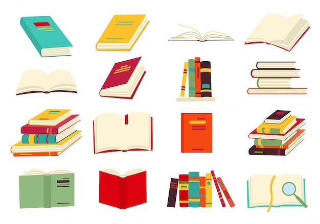 Le icone dei libri vector l'insieme Vettore Premium