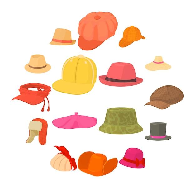Le icone dei tipi del cappello hanno messo il copricapo, stile del fumetto Vettore Premium