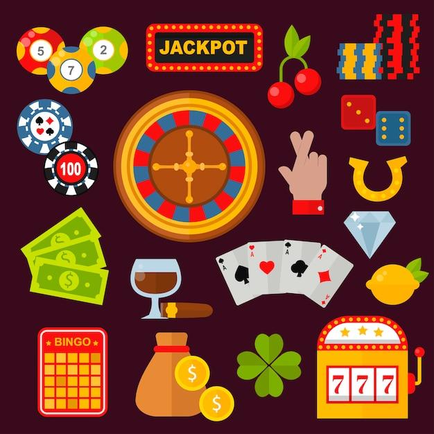 Le icone del casinò hanno messo con le slot machine del burlone del giocatore d'azzardo della roulette Vettore Premium