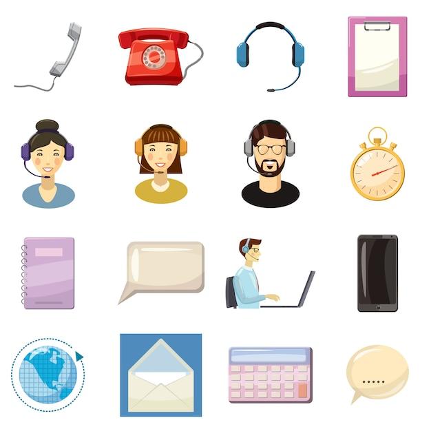 Le icone del centro di chiamata hanno messo, stile del fumetto Vettore Premium