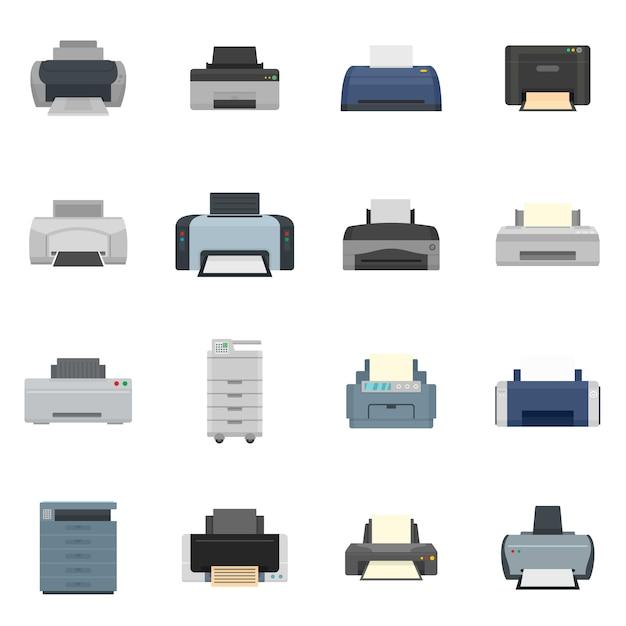 Le icone del documento della copia dell'ufficio della stampante hanno fissato lo stile piano Vettore Premium