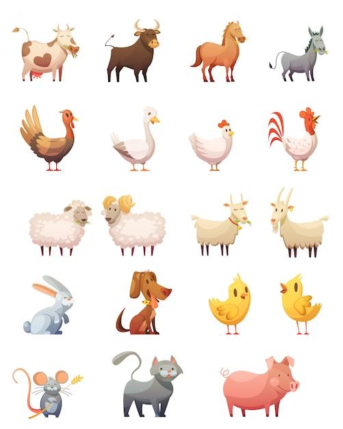 Le icone del fumetto degli animali da allevamento messe del coniglietto del gatto della ram del cavallo della mucca del gobbler della gallina hanno isolato l'illustrazione di vettore Vettore gratuito