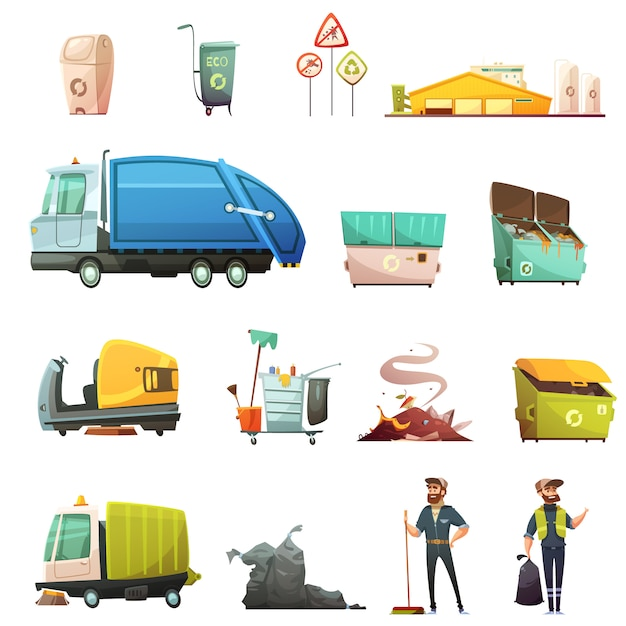 Le icone del fumetto del processo di smistamento e di riciclaggio dell'immondizia hanno messo con raccolta dei rifiuti dell'iarda Vettore gratuito