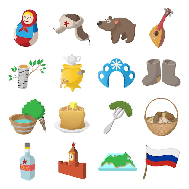 Le icone del fumetto della russia hanno fissato il vettore isolato Vettore Premium