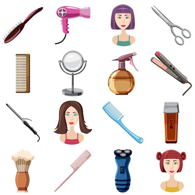 Le icone del parrucchiere hanno messo, stile del fumetto Vettore Premium