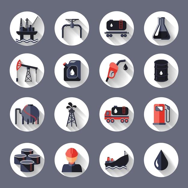 Le icone del trasporto e del fossile di industria petrolifera messe hanno isolato l'illustrazione di vettore Vettore gratuito