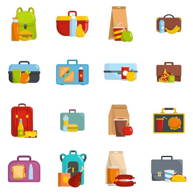 Le icone dell'alimento di lunchbox hanno fissato il vettore isolato Vettore Premium