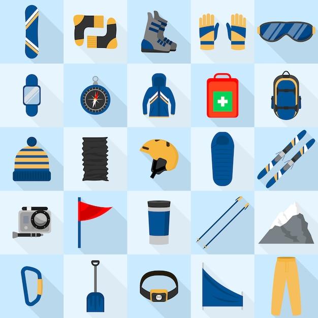 Le icone dell'attrezzatura di snowboard della montagna hanno messo, stile piano Vettore Premium