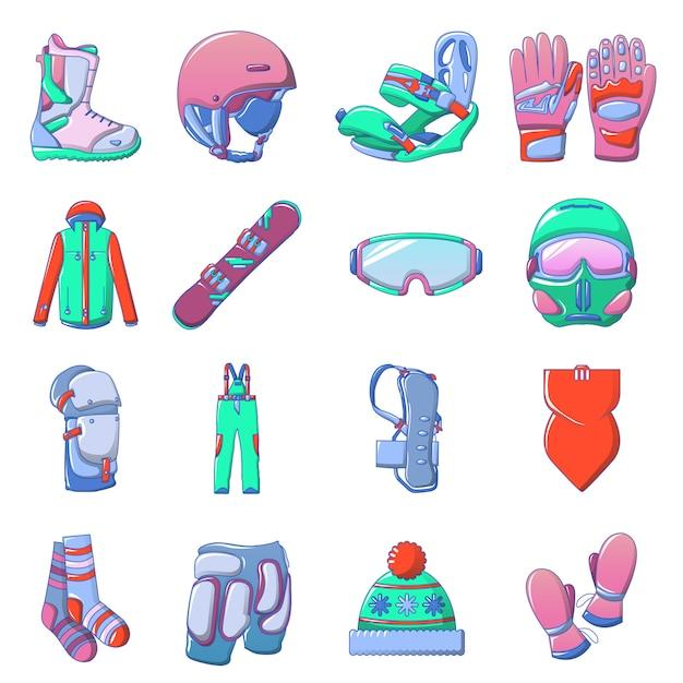 Le icone dell'attrezzatura di snowboard mettono, stile del fumetto Vettore Premium