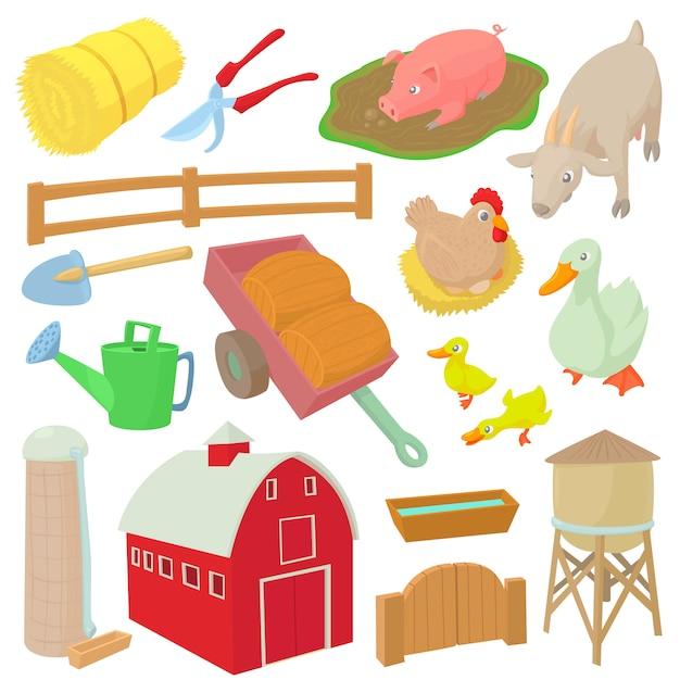 Le icone dell'azienda agricola hanno messo nello stile del fumetto isolato l'illustrazione di vettore Vettore Premium