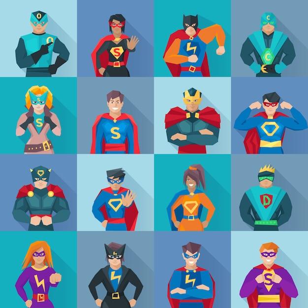 Le icone dell'ombra quadrata del supereroe hanno messo con i simboli di potere Vettore gratuito