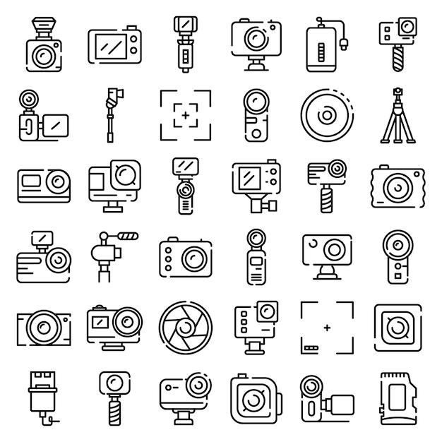 Le icone della macchina fotografica di azione hanno messo, descrivono lo stile Vettore Premium