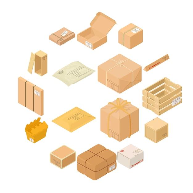 Le icone della scatola di imballaggio del pacco hanno messo, stile isometrico Vettore Premium