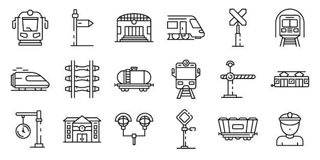 Le icone della stazione ferroviaria impostano, descrivono lo stile Vettore Premium