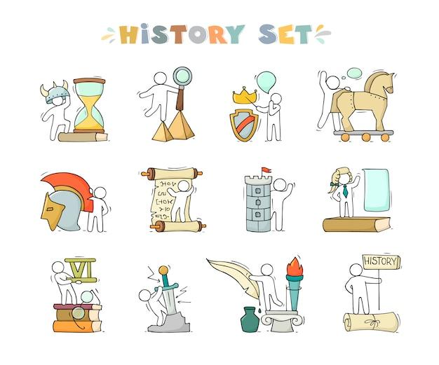 Le icone della storia hanno messo insieme studiando la piccola gente. Vettore Premium