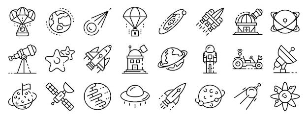 Le icone della tecnologia di ricerca spaziale mettono, descrivono lo stile Vettore Premium