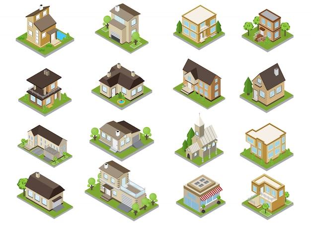 Le icone delle costruzioni della periferia hanno messo con le case urbane e la chiesa isometriche isolate Vettore gratuito