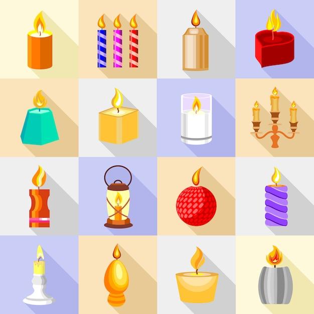 Le icone delle forme della candela hanno messo la luce della fiamma. Vettore Premium