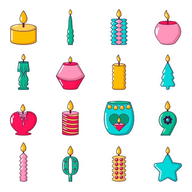 Le icone delle forme della candela hanno messo la luce Vettore Premium