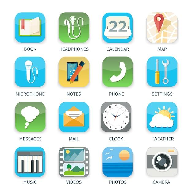 Le icone di applicazioni del telefono cellulare hanno messo del video della macchina fotografica del calendario del tempo di musica nella progettazione piana isolata Vettore Premium
