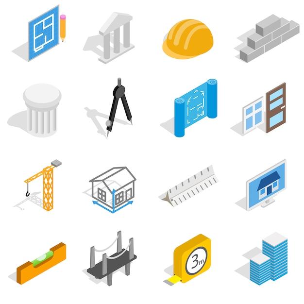 Le icone di architettura messe nello stile isometrico 3d hanno isolato l'illustrazione di vettore Vettore Premium