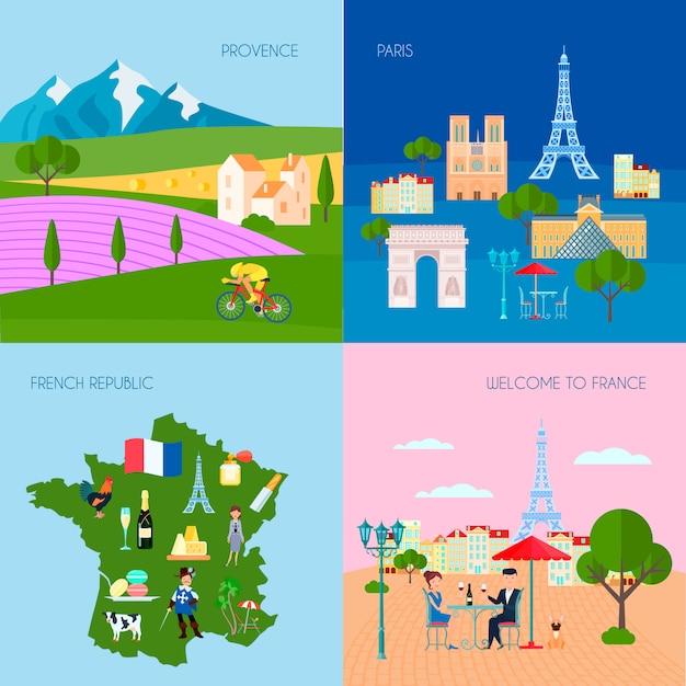 Le icone di concetto della francia hanno messo con l'illustrazione di vettore isolata piano di simboli di parigi e della provenza Vettore Premium