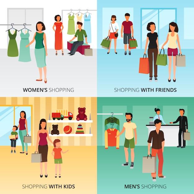 Le icone di concetto di acquisto hanno messo con l'illustrazione di vettore isolata piano di simboli di compera degli uomini e delle donne Vettore gratuito
