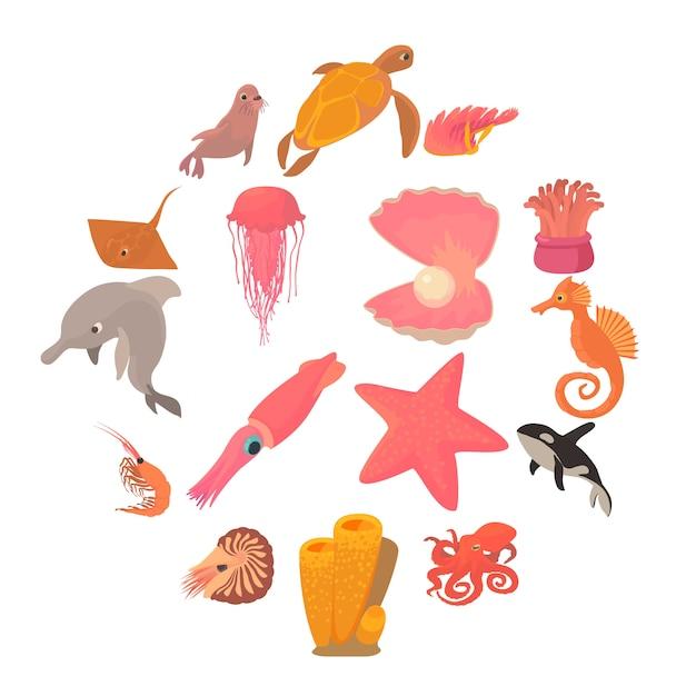 Le icone di fauna degli animali dell'oceano hanno messo, stile del fumetto Vettore Premium