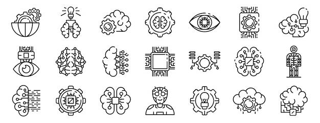 Le icone di intelligenza artificiale hanno fissato, descrivono lo stile Vettore Premium