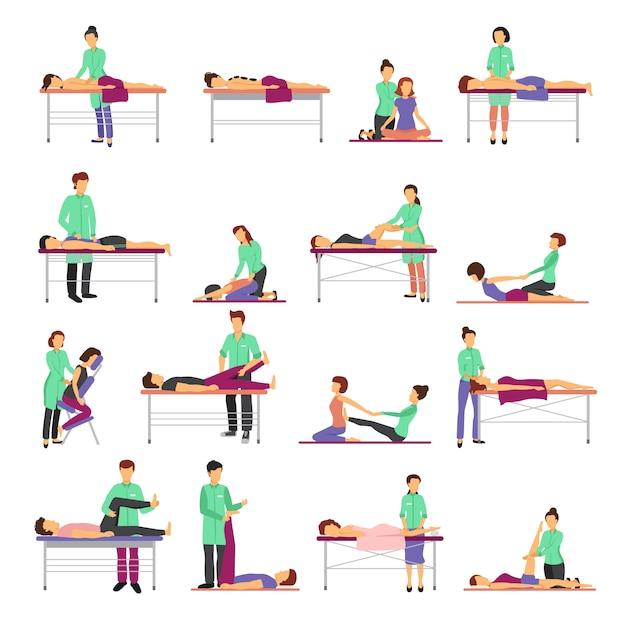 Le icone di massaggio hanno messo con l'illustrazione di vettore isolata piano di simboli di sanità Vettore gratuito