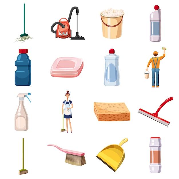 Le icone di pulizia hanno fissato i detersivi, stile del fumetto Vettore Premium