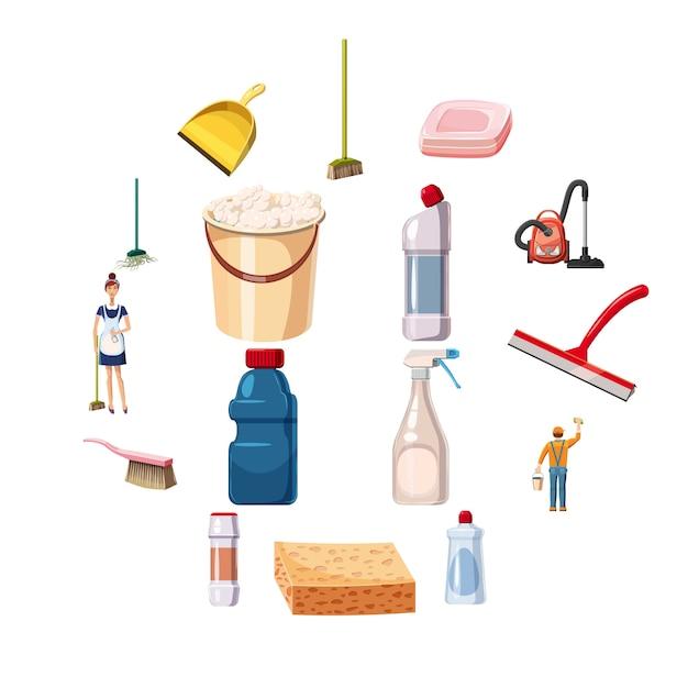 Le icone di pulizia hanno messo i detersivi, stile del fumetto Vettore Premium
