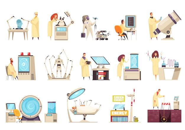 Le icone di scienza hanno messo con attrezzatura moderna e gli scienziati che lavorano nei campi differenti dell'illustrazione isolata sviluppo innovativo Vettore gratuito
