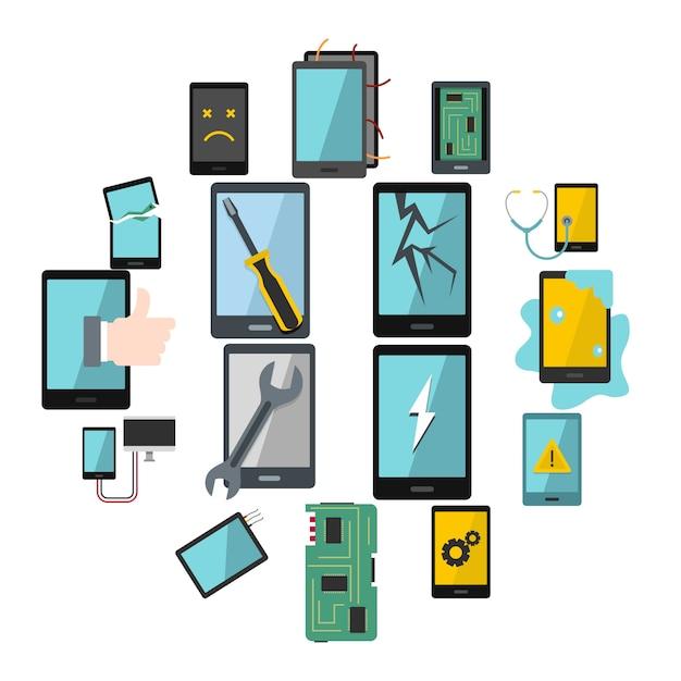 Le icone di simboli di riparazione del dispositivo hanno messo nello stile piano Vettore Premium