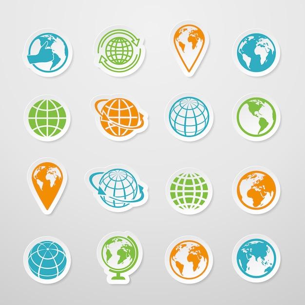 Le icone di simbolo della mappa di mondo della terra del globo dell'autoadesivo hanno messo l'illustrazione di vettore Vettore Premium