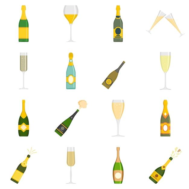 Le icone di vetro di bottiglia di champagne hanno fissato il vettore isolato Vettore Premium
