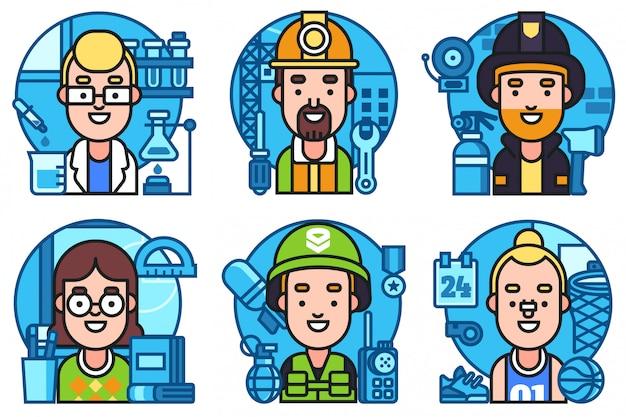 Le icone impostano la raccolta di professione dei lavoratori Vettore Premium