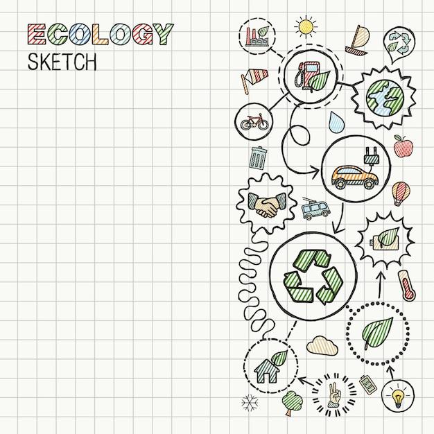 Le icone integrate di tiraggio della mano dell'ecologia hanno messo su carta quadrata. illustrazione infografica schizzo a colori. pittogrammi doodle collegati, eco-friendly, bio, energia, riciclo, auto, pianeta, concetti verdi Vettore Premium