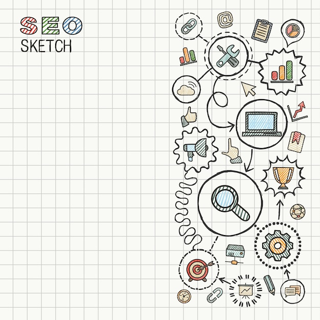 Le icone integrate di tiraggio della mano di seo hanno messo su carta. illustrazione infografica schizzo colorato. pittogrammi doodle collegati, marketing, rete, analitica, tecnologia, ottimizzazione, concetto interattivo Vettore Premium