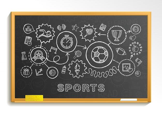 Le icone integrate di tiraggio della mano di sport hanno messo sul consiglio scolastico. schizzo illustrazione infografica. pittogrammi di doodle collegati, nuoto, calcio, calcio, basket, gioco, fitness, concetto di attività Vettore Premium