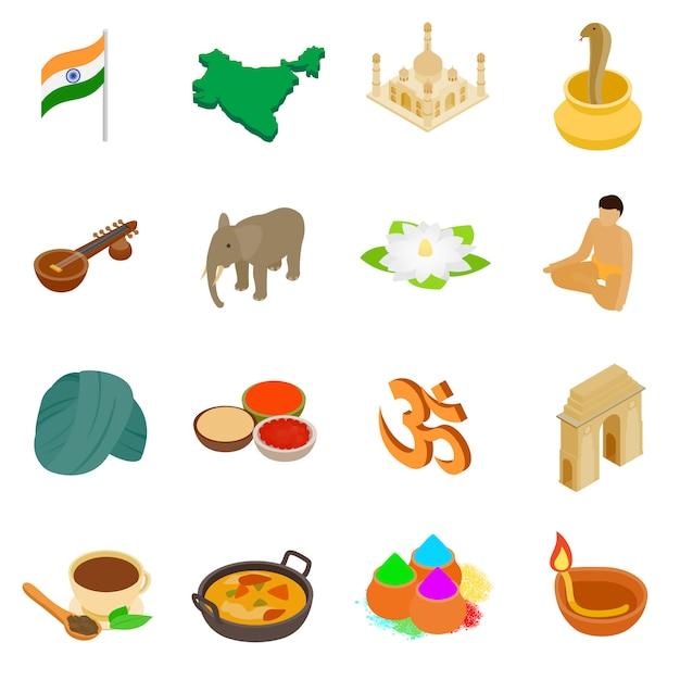 Le icone isometriche 3d dell'india hanno messo isolato su fondo bianco Vettore Premium