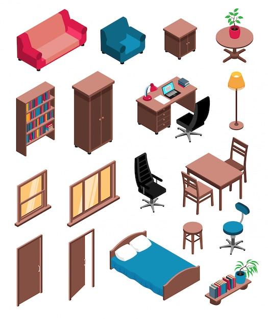 Le icone isometriche degli oggetti interni privati hanno messo con la lampada da terra dello scrittorio della sedia di comò della tavola del sofà Vettore gratuito