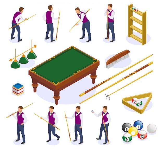 Le icone isometriche del biliardo hanno messo con le immagini isolate delle stecche e delle palle della tavola con i caratteri umani Vettore gratuito