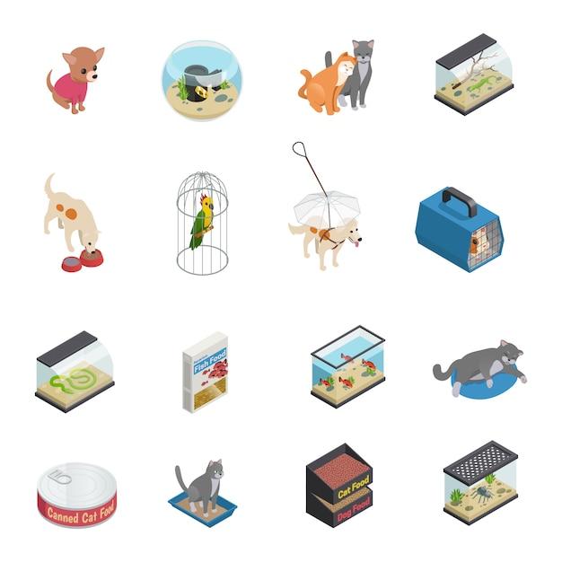 Le icone isometriche del negozio di animali hanno messo con i gatti e cani Vettore gratuito