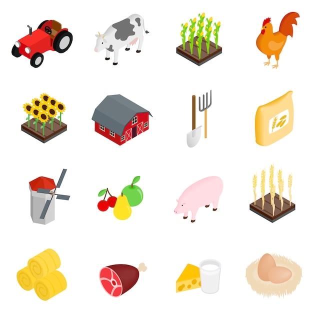 Le icone isometriche dell'azienda agricola 3d hanno messo isolato su fondo bianco Vettore Premium
