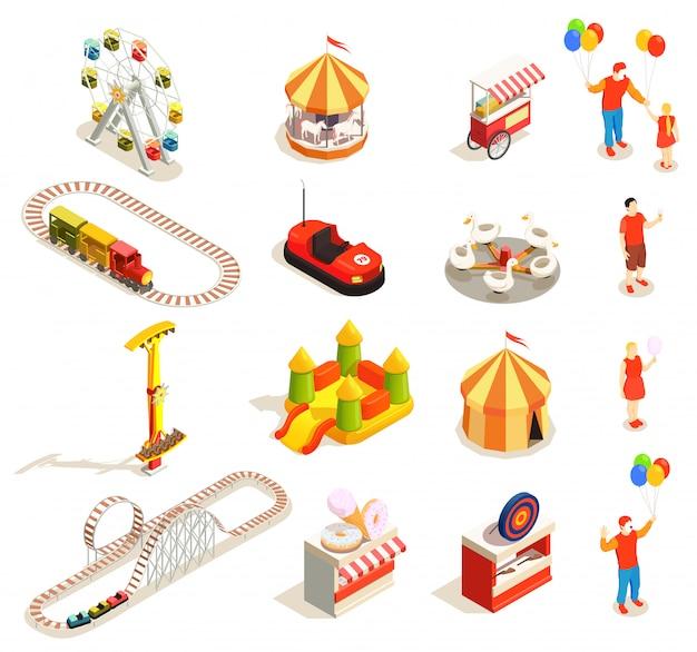 Le icone isometriche delle attrazioni e degli ospiti del parco di divertimenti hanno messo isolato su 3d bianco Vettore gratuito