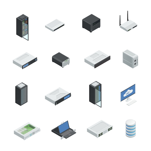 Le icone isometriche di calcolo della nuvola del server di datacenter hanno messo con le immagini isolate Vettore gratuito